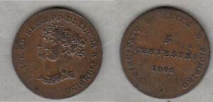 Cu-5-Centesimi-1806-Lucca-und-Piombino-Elisa-Bonaparte-R-tolle-Erhaltung-lovely