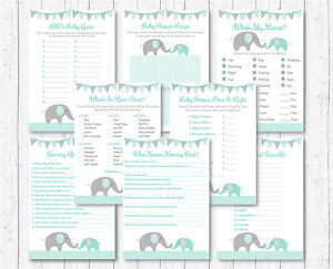 8 Printable Games Purple Elephant Baby Shower Games Pack