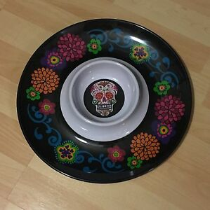 """Day of the Dead Sugar Skull Plastic 13"""" Serving Party Tray Chip Dip Bowl NEW"""
