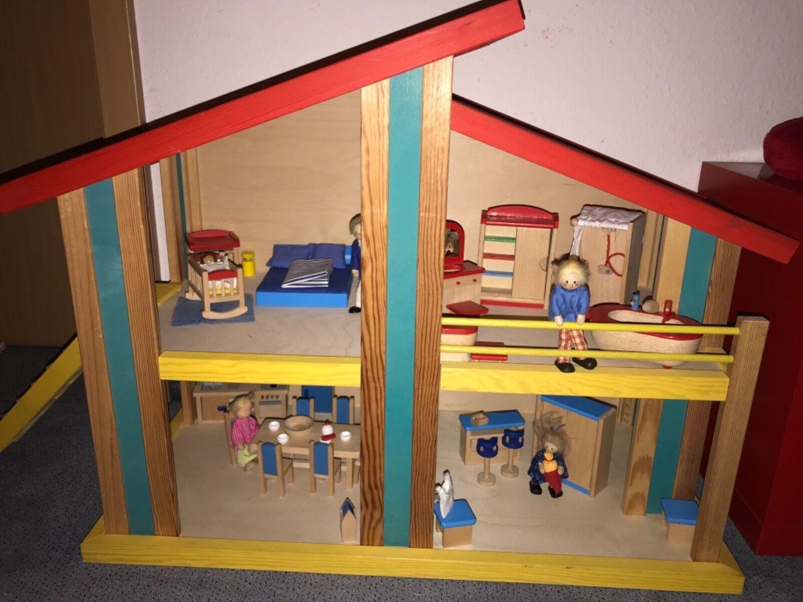 Dollnhaus  Holz 2 Etagen, m. kompletter Einrichtung und Dolln