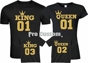 Last Name T Shirt Designs | King And Queen 01 02 Jersey Number Front Gold Design Family Matching