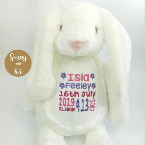 Custom Embroidered Toy Personalised White Bunny Teddy Baby Girl Pink Gift