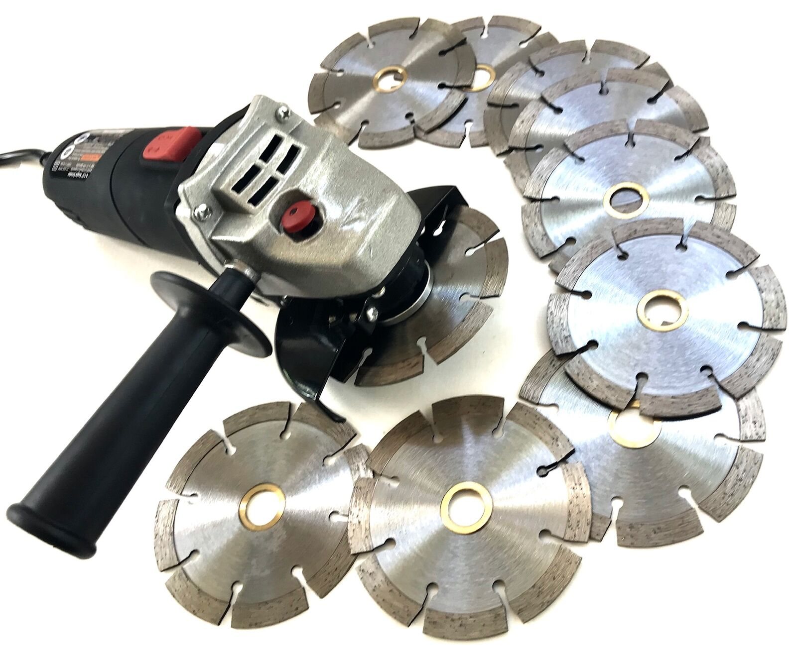 "4 1 2'' angle grinder with (15) 4"" Segmented diamond blade for stone, masonry"