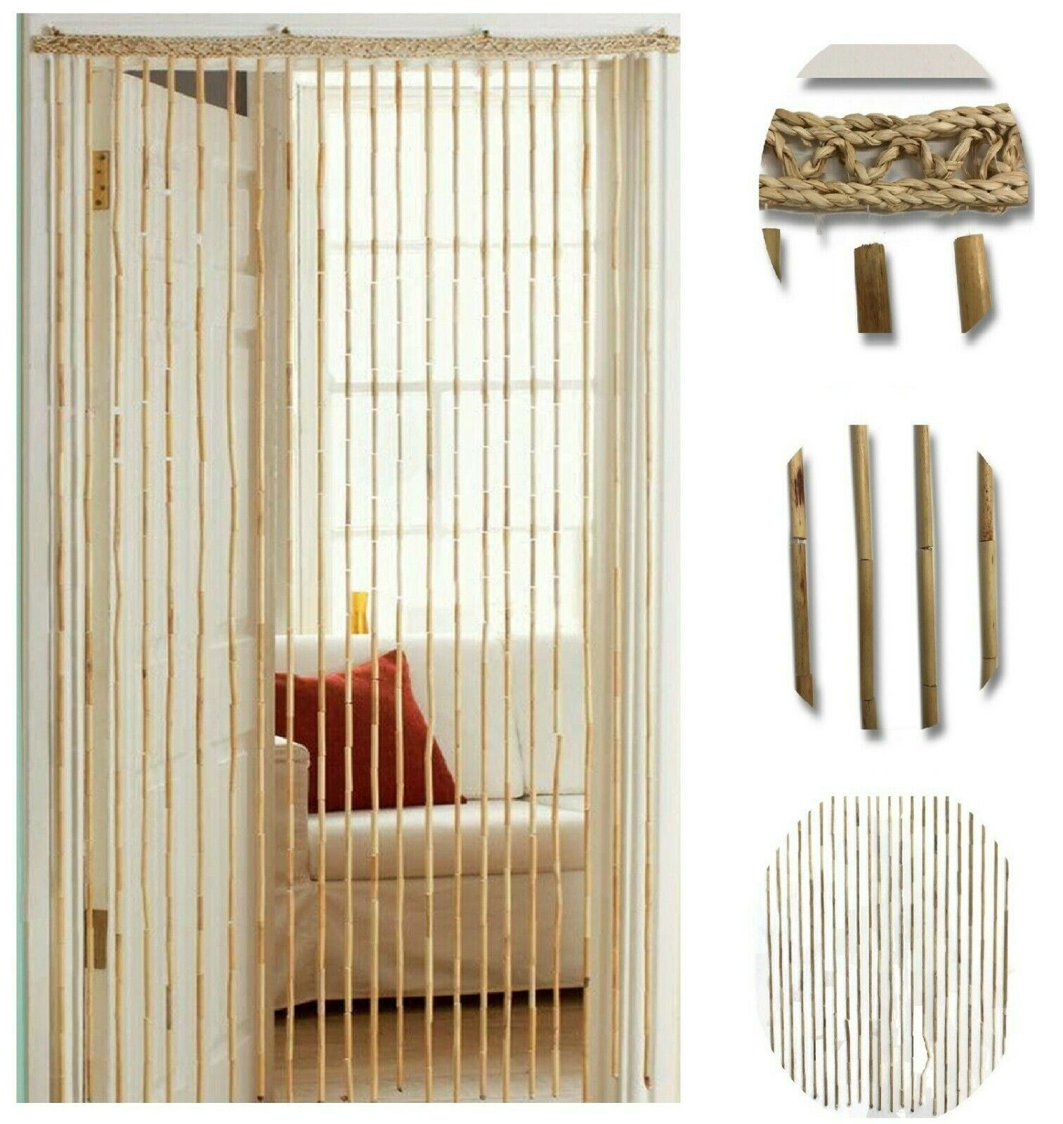 2 X Heavy Bamboo Beaded Door Curtain Blind Fly Screen For Sale Ebay