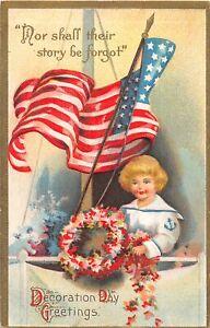 F44/ Patriotic Postcard Decoration Day c1910 Flag Boy Sailor Wreath 21