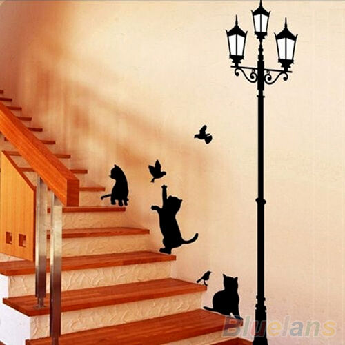 Pretty Nursery Baby Kind Room Wall Sticker Cartoon Cats Street Lamp Lights Decal