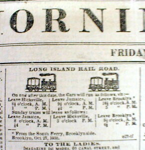 1838 New York Herald newspaper w frnt pg illustrated AD for LONG ISLAND RAILROAD