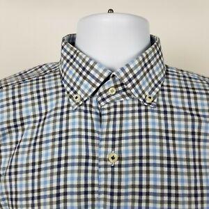 Peter Millar Mens Blue Gray Check Plaid Dress Button Shirt Size Medium