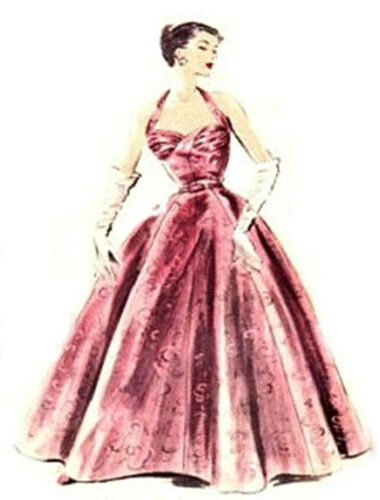 #81 50/'S STYLE HALTER EVENING  GOWN PATTERN FOR ALL SIZE DOLLS