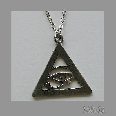 Chain Necklace #124 Pewter Eye of Horus (22mm) Ra Udjat Egyptian Symbol Triangle