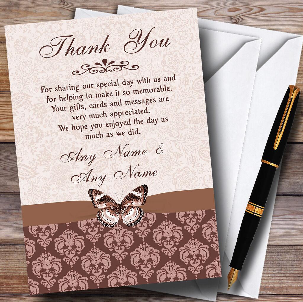 Marrón Fawn Beige Floral Mariposa Personalizado Boda Tarjetas De Agradecimiento