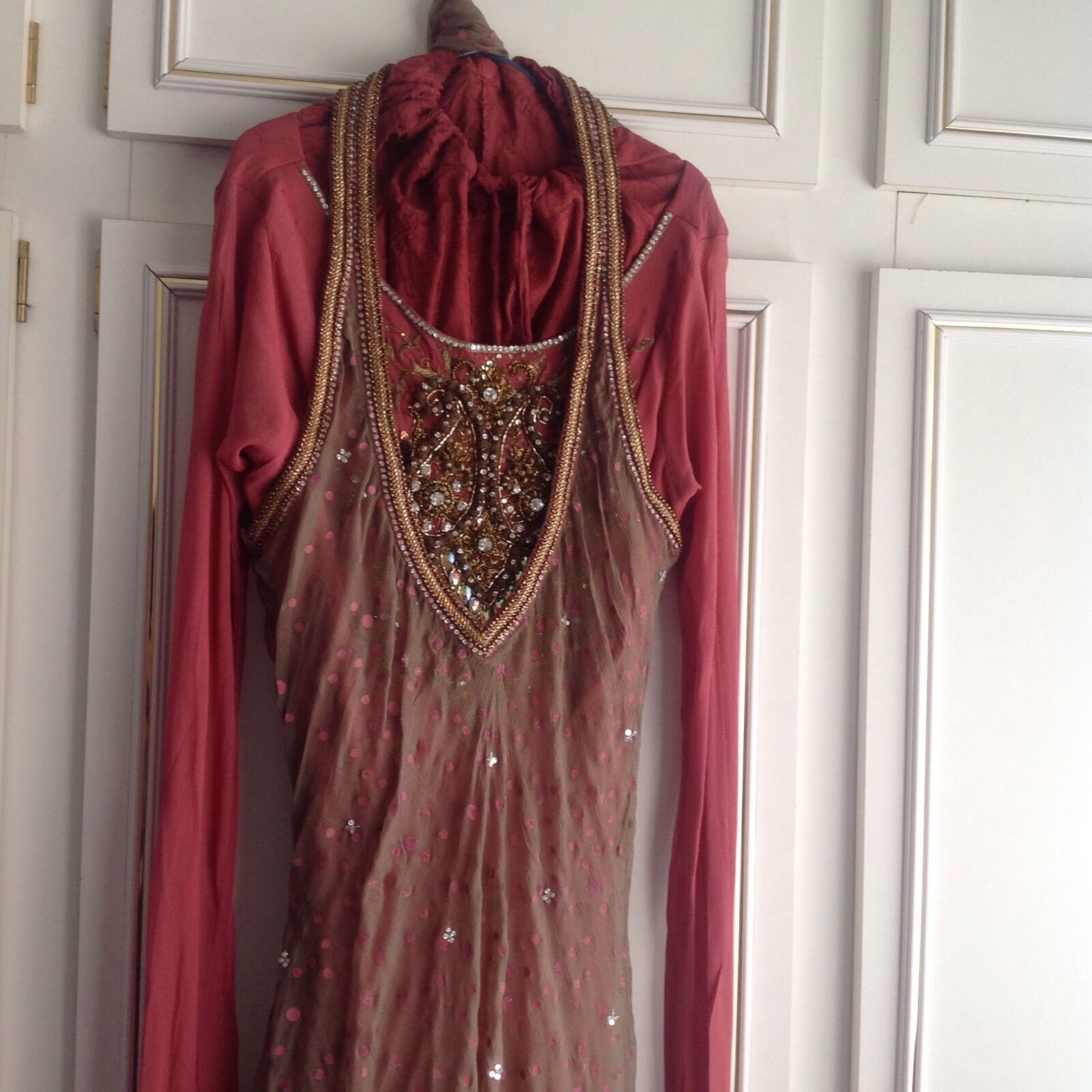 Asian Mocha & Pink With gold size 6 8 asian wedding eid Diwali party outfit