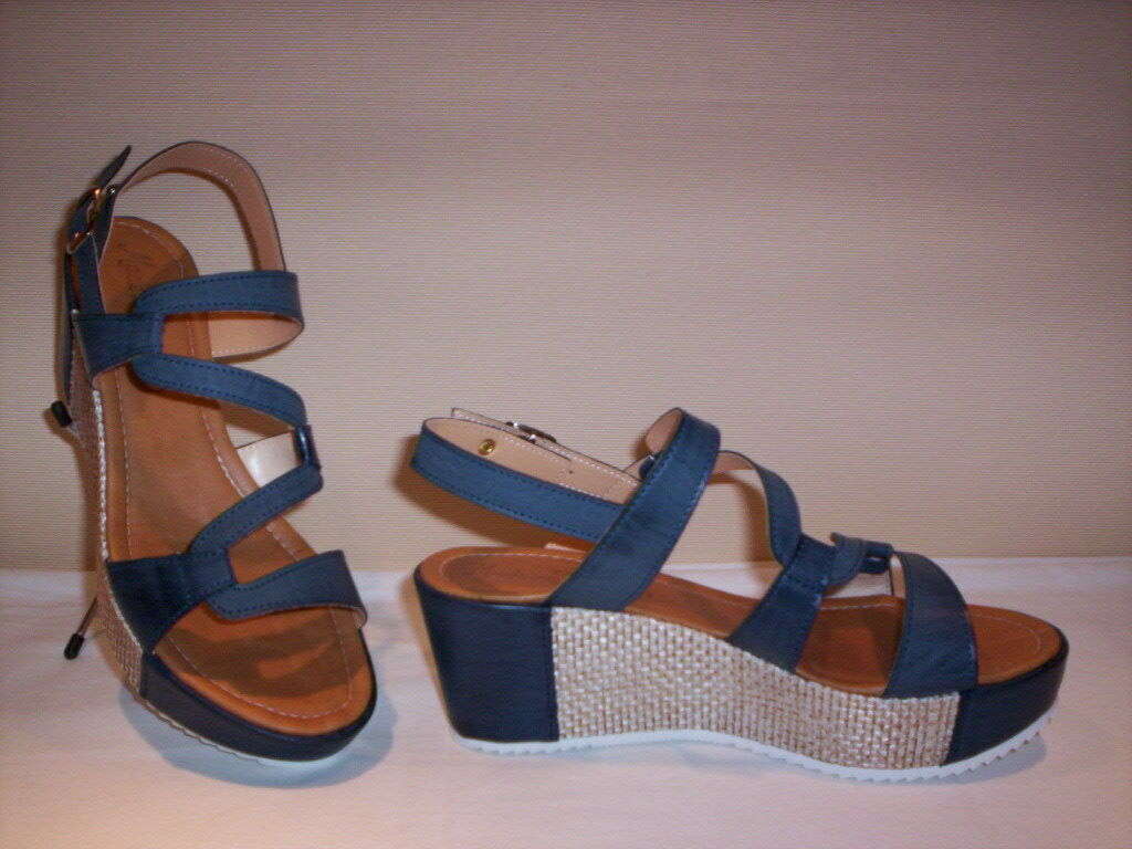 Ambra sandales chaussures casual Made in  femme compensé plateau cuir bleu
