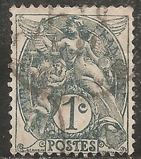 """France Stamp-Scott #109/A16 1c Gray """"Liberty, Equality, Fraternity"""" Used/LH 1900"""