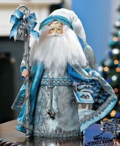 Santa-Claus-Collectible-Silver-White-Blue-Christmas-Figurine-or-Tree-Topper
