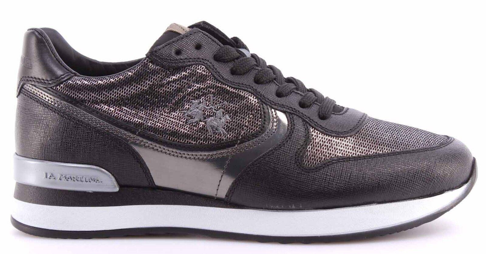 Nuevos zapatos para hombres y mujeres, descuento por tiempo limitado Zapatos Mujer Sneakers LA MARTINA L2140246 Saffiano Nero Miraval Argento Italy
