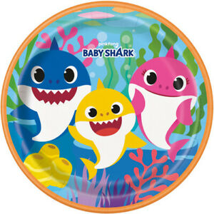 BABY SHARK LARGE PAPER PLATES ~ Baby Shower 1st Birthday Party Supplies 8