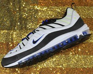 Nike-Air-Max-98-Running-Shoe-White-Black-Racer-Blue-Volt-640744-103-Mens-sz-15