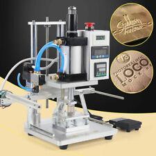 110v Hot Foil Stamping Machine Air Pneumatic Pvcpuwood Paper Logo Press 8x10cm
