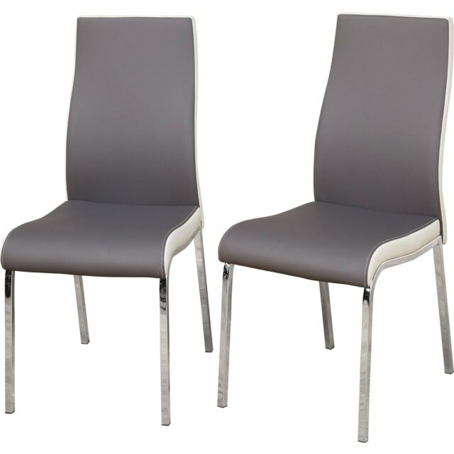 Modern Dining Chair Chrome Plated Metal Legs Faux Leather Set Of 2 Grey White For Sale Online Ebay