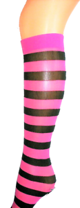 HOT PINK BLACK STRIPE Knee High POP Socks SOX OPAQUE STRIPEY NEW FANCY DRESS O//S