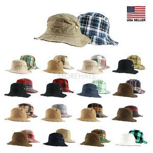 ee3cf6f3c84 Image is loading Cotton-Reversible-Hiking-Fishing-Bucket-Hat-Womens-Mens-