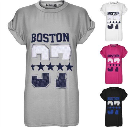 Womens Boston 37 Oversized Baggy Ladies Short Turn Up Cap Sleeve T Shirt UK 8-14