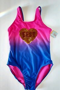 New-Cat-amp-Jack-Best-Friends-Pink-Purple-And-Blue-Girls-10-12-One-Piece-Swimsuit
