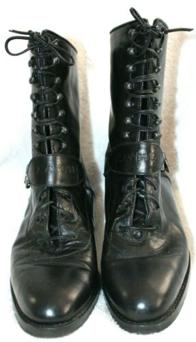 Joan & David Black Italian Leather Lace-Up Buckle
