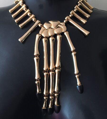 HOT! Statement Skull Skeleton Hands Necklace Silver or Gold By Rocks Boutique