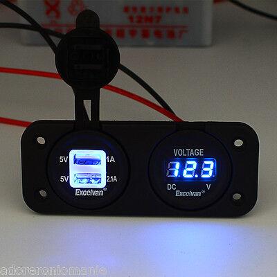 Dual USB Charger Adapter Socket Voltmeter 12V Car Motorcycle Cigarette Lighter