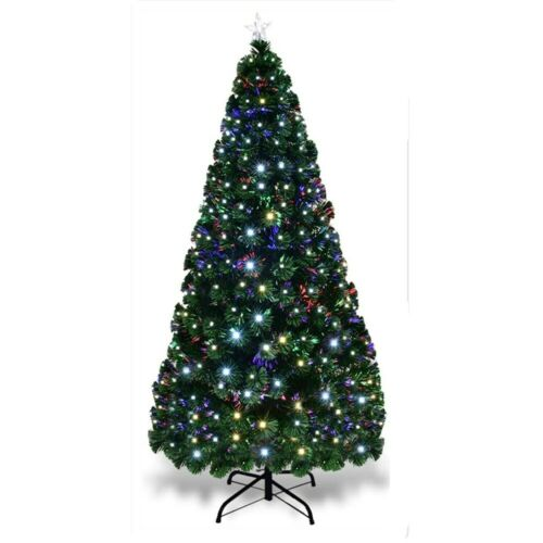 4//5//6//7ft Pre-Lit Artificial Christmas Tree Led Lights Fiber Optic Decorations