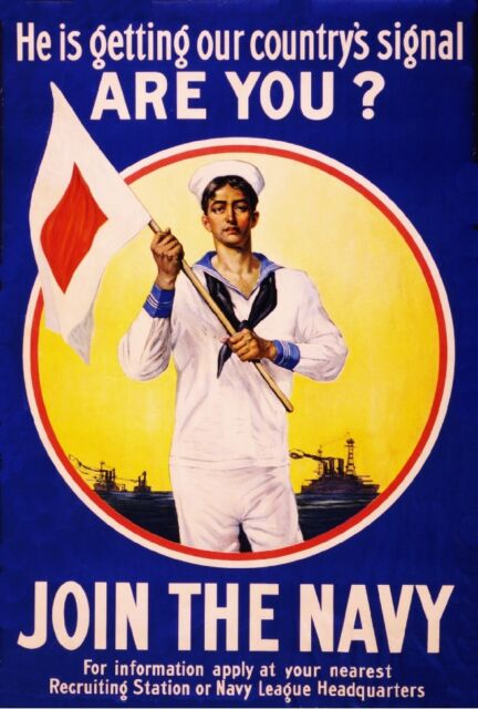 1915 Join the Navy WWI American Patriotic Wartime Advertisement Poster Print