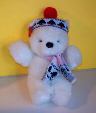 """APPLAUSE~10"""" Snow White Teddy Bear Knitted Hat & Scarf~Plush Stuffed Animal"""