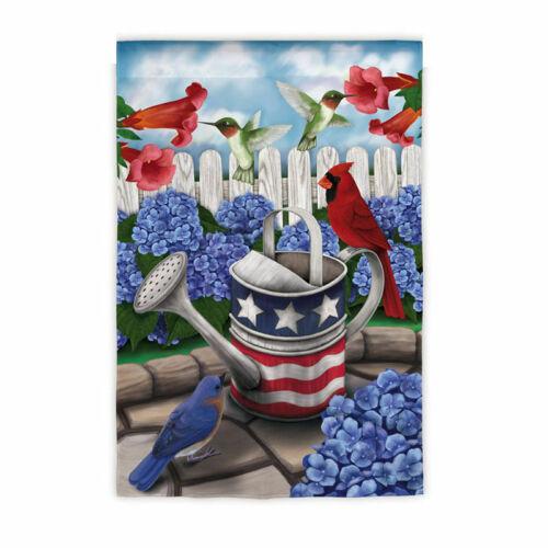 "HUMMINGBIRD YARD GARDEN FLAG 12.5/"" x 18/"" ALL AMERICAN GARDEN PATRIOTIC CARDINAL"