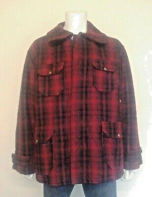 Woolrich Classico Lana Pesante Ombra Rosso/nero Plaid Hunt Coat. Made In Usa.- Per Garantire Una Trasmissione Uniforme