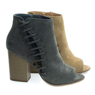 bcea9a407c919 Callme Side Cutout Corset Lace w Chunky Block Heel, Peep Toe Ankle Bootie |  eBay