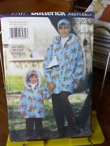 Oop-Butterick-Mother-Daughter-5707-hooded-jacket-pants-headband-all-sizes-NEW