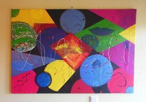 """""""coloré géométrie"""" acrylique peinture l'artiste Hilde tution Nature Painting pièce unique-afficher le titre d`origine"""