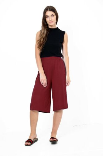 Women/'s Ladies Plain Elasticated Wide Leg Baggy Flared Short Palazzo Pants 8-26