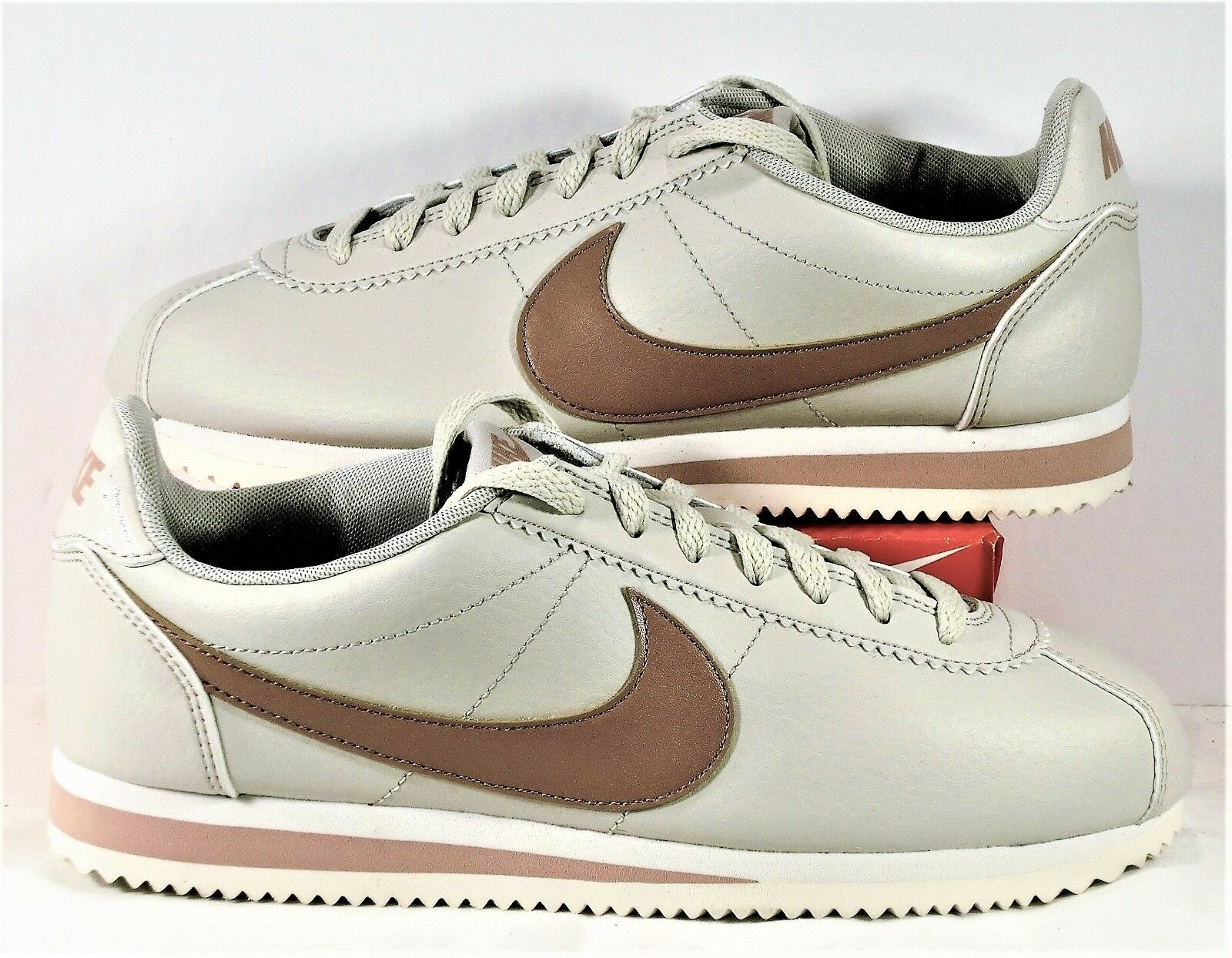 Nike Classic Cortez Leather Light Bone Particle Pink Womens Sz 10 NEW 807471 013 Wild casual shoes
