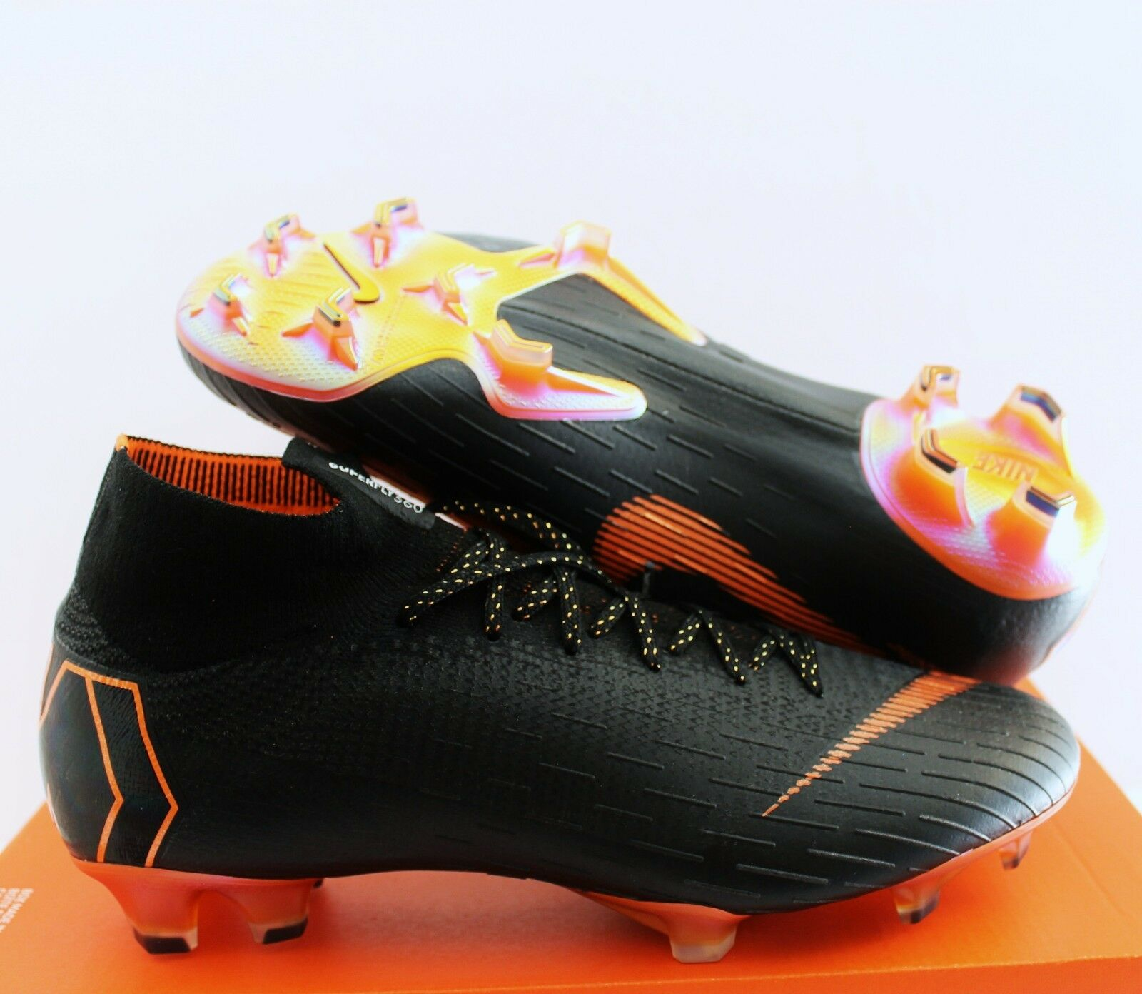 NIKE SUPERFLY 6 ELITE FG noir-TOTAL ORANGE-blanc SZ 9 [AH7365-081]