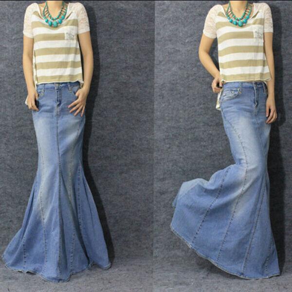 Slim Fit Ladies Womens Long Denim Fishtail Maxi Dresses Stretchy Clothes HOT NEW