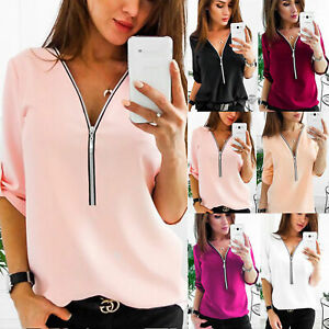 Womens-Solid-Zipper-V-Neck-Chiffon-Tops-Loose-Casual-Long-Sleeve-Blouse-T-Shirt