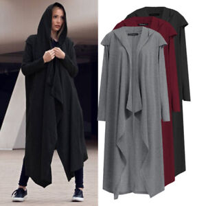 Ladies-Oversized-Hooded-Loose-Cardigan-Womens-Waterfall-Long-Trench-Coat-Jacket