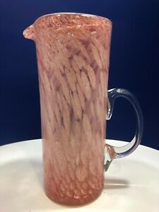 Vintage-Hand-Blown-Large-Pink-amp-White-Spatter-Glass-Tankard-Pitcher