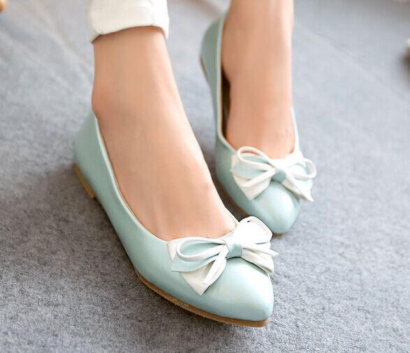 Ballerines chaussures pour femmes pan de la terre bleu talon 1 cm nœud ruban
