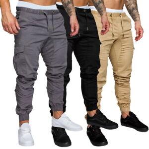 hommes cargo pantalons de travail de sport pantalon décontracté cordon serrage