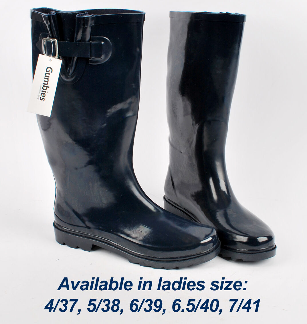 Gumbies Waterproof Welly Navy Blue Wellington Boots Shoes Size 4 5 6 6.5 7 UK