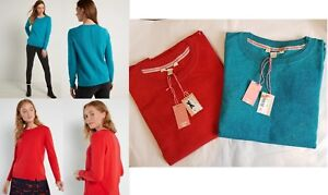 Ladies-Womens-White-Stuff-Jumper-Top-Wool-Cotton-Knit-Sweater-Red-Teal-Size